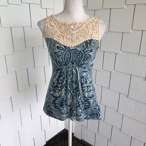 Deletta Paisley & Crochet Knit Tank Size XS
